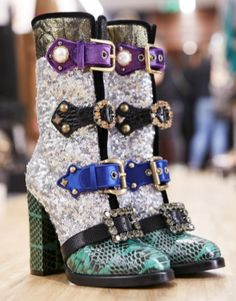 Dolce & Gabbana FW17 Backstage. Fall Winter. Jewelled Dolce Shoes.