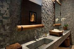 Bathroom - Asian - Bathroom - other metro - by Eduarda Correa Arquitetura & Interiores Bathroom Window Treatments, Bathroom Windows, Bathroom Styling, Bathroom Interior Design, Bathroom Lighting, Bath Design, Home Design, Design Ideas, Style Asiatique