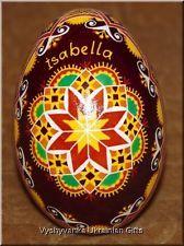 Real Ukrainian Pysanka Goose Egg with name Isabella Nice Quality Pysanky