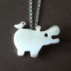 just cute :) Hippo with tiny friend Necklace in sterling silver by zoozjewelry, $40.00