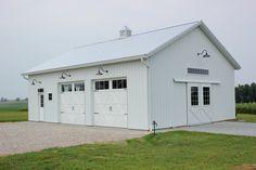 Barn Light electric, white barn, pole barn, carriage doors, gooseneck lights