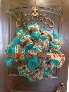 Peacock wooden cross welcome decomesh wreath with burlap and leather https://www.facebook.com/AdooRableCuteCreations?ref=hl