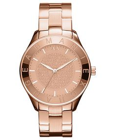 A X Armani Exchange Watch, Women's Rose Gold Ion Plated Stainless Steel Bracelet 40mm AX5160 - Macy's $160.00