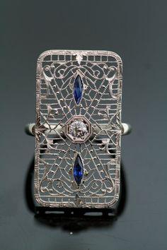 Antique 14K White Gold Filigree Ring - Diamond and Sapphires
