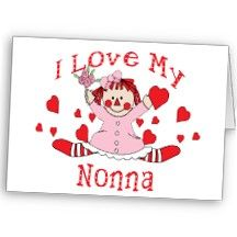 *RAGGEDY ANN ~ I love My Nonna Rag Doll & Hearts Greeting Cards