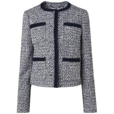 Astrala Navy Mix Tweed Jacket | Clothing | L.K.Bennett ($355) ❤ liked on Polyvore featuring outerwear, jackets, tweed jacket, collarless jacket, collarless tweed jacket, navy blue jackets and navy jackets