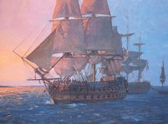 'HMS Leander' Fourth-Rate 52-gun ship--By 1797 the fourth-rate was not considered fit for the line of battle, yet that is where H.M.S. Leander found herself, at the Battle of the Nile on 1st August. Here seen passing the grounded Culloden and the brig Mutine, Leander played a distinguished part in the ensuing night action.