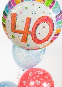 A multi-coloured and fun balloon arrangement for a birthday party. 40th Birthday Balloons, 40th Birthday Parties, Balloon Shop, Balloon Arrangements, Balloon Bouquet, Christmas Bulbs, Create, Holiday Decor, Party
