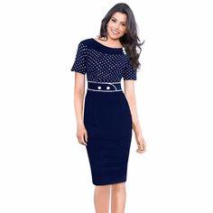Polka Dot Short Sleeve Dress. Gender: WomenWaistline: NaturalDecoration: ButtonSleeve Style: RegularPattern Type: DotDresses Length: Knee-LengthNeckline: O-NeckSilhouette: SheathSleeve Length: Short