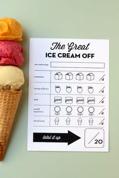 Printable Ice Cream Scorecards by melanieblodgett for Julep