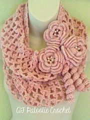 Ravelry: Blushing Flowers Infinity Scarf pattern by Debbie Wisely of QT Patootie Crochet