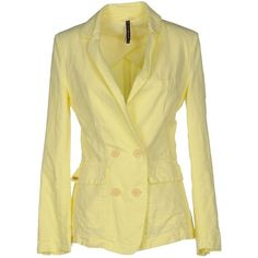 Manila Grace Blazer ($64) ❤ liked on Polyvore featuring outerwear, jackets, blazers, yellow, long sleeve blazer, blazer jacket, lapel jacket, long sleeve jacket and yellow jacket