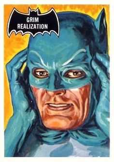 1966 Topps Batman Black Bat # 7 Grim Realization (Card) (Series has a Black Bat on Front) Deans Card Batman 1966, Batman Art, Batman And Superman, Batman Robin, Batman Cartoon, Batman Stuff, Batman Tv Show, Batman Tv Series, Comic Books Art