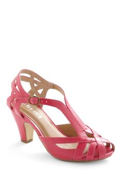 Banker Lamp Heel in Pink. Illuminate your sophisticated style with these scholarly, yet spunky bright pink heels by Chelsea Crew. #pink #modcloth