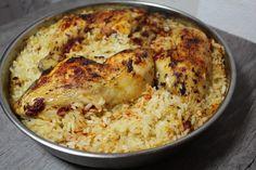 Hähnchenkeule mit Reis im Ofen