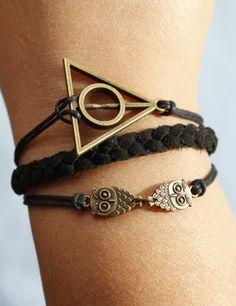 1 owl bracelet,antique bronze bracelet,black wax cord black lmitation leather bracelet