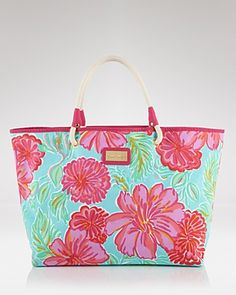 Pink and orange Lilly Pulitzer tote. | Preppy totes | Pinterest