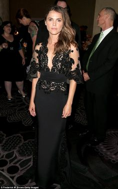 Dramatic entrance: Keri Russell took the plunge in a sophisticated black lacy gown at the Television Critics Association Awards in Beverly Hills Saturday