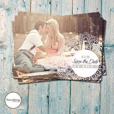 Vintage White Lace Photo Save the Date / Rustic / DIY Printable / Printed Invitations with free envelopes / White Dollie / White Lace #bestofEtsy #design