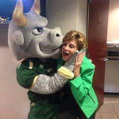 Rocky planting a kiss on #USF President Judy Genshaft.