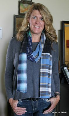 luv the scarf made of old flannel shirts. she also made pillows out of them.  she also makes great furniture and decor out of old painted wood. check out her blog! luv it