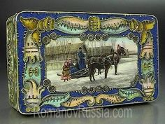 Faberge gilded silver and shaded cloisonne enamel box in Neo-Russian style with a miniature of a horse sledge in a winter villagescape, made in Moscow between 1908 and 1917.