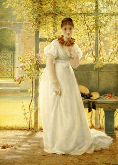 """⊰ Posing with Posies ⊱ paintings of women and flowers - """"In the Walled Garden"""" by George Dunlop Leslie"""