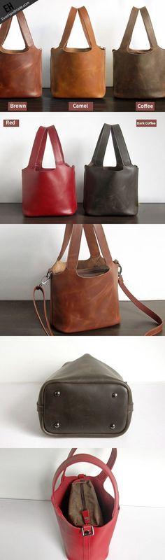 Handmade Leather Small tote bag shopper bag busket for women leather shoulder bag