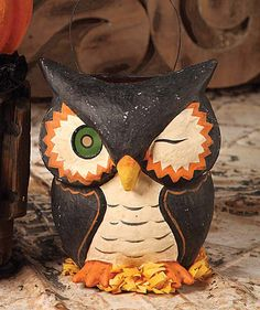 "BETHANY LOWE HALLOWEEN VINTAGE WINKING OWL BUCKET Paper Mache Treat 9"""