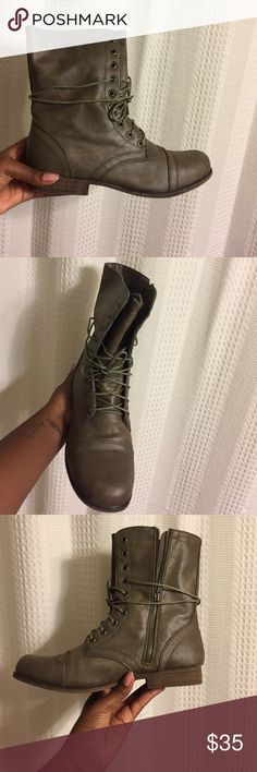Combat boots Taupe boot with stopper and laces Shoes Combat & Moto Boots