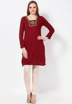 fdfe55c99 Buy AURELIA Red Solid Kurtis Online - 4560354 - Jabong