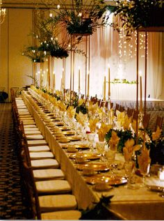 long tables and high centerpieces