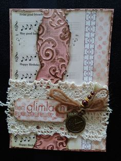 vintage card with embossing and inka gold...
