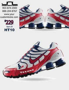 Custom Houston Texans Nike Turbo Shox – JNL Apparel I'm gonna need a pair of these! Texans Game, Houston Texans Football, Football Fans, Houston Astros, Football Season, Bulls On Parade, Nike Design, H Town, Nike Flyknit
