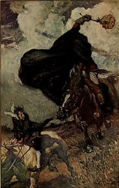 Arthur Keller's illustration of Ichabod Crane fleeing the Headless Horseman, 1906