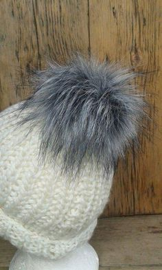 87e5396f72b Spare Keeshond Grey Faux Fur Pom Pom Bobble for hat with press stud. Extra  long. Etsy