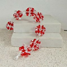 Handmade-bracelet-red-clear-Lucite-flower-beads-rosary-chain-size-7-big-links