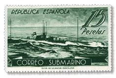 Submarine stamp, 1938, towards end of the republic, rare stamp