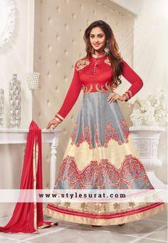 Stylish Red Color Bhagalpuri Silk Anarkali Salwar Suit