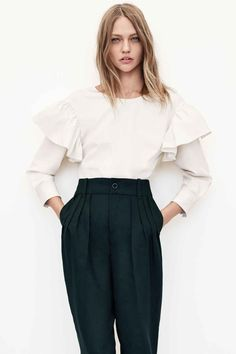 Our Fall Wardrobe In 10 Pieces. // Frilled Sleeve Blouse via @zara