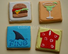 Jimmy Buffett cookies ~ color me cookie