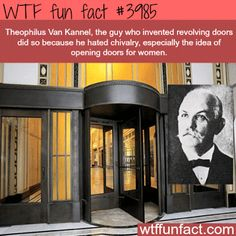 The inventor of the revolving door - WTF weird and fun facts Wtf Fun Facts, True Facts, Funny Facts, Funny Memes, Random Facts, Epic Facts, Awesome Facts, Crazy Facts, Random Stuff