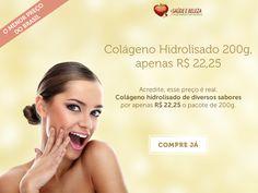 """Loucura! Colágeno Hidrolisado 200g apenas R$ 22,25. #Desconto #Colágeno Acredite esse preço é real! Colágeno Hidrolisado - diversos sabores por apenas R$ 22,25 o pacote de 200g - """"o menor preço do Brasil!""""  Confira! http://www.maissaudeebeleza.com.br/colageno-hidrolisado-natural-200g-nutrigold?utm_source=pinterest&utm_medium=link&utm_campaign=Colágeno+Hidrolisado&utm_content=post"""