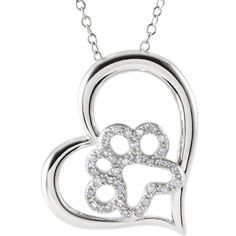 """Sterling Silver 1/6 CTW Diamond Heart Paw 18"""" Necklace"""