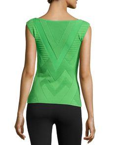 Sleeveless Ribbed Chevron-Knit Sweater, Grass Green