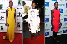 The Miu Miu dress in the middle. Also, Lupita Nyong is gorgeous and looks great in the other two as well.