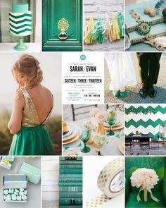 @Alyssa White emerald wedding schemes   Colors / Dear Evie inspiration board 37 #wedding #inspiration #emerald ...