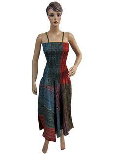 Cotton Tie Dye Chic Long Spaghetti Smocked Dress