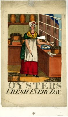 Trade card or advertisement for an oyster seller. Hnad-coloured etching