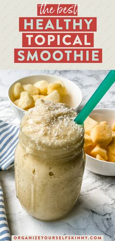 This tropical smoothie recipe is made with pineapple, mango, banana, and coconut milk. Coconut oil and chia seeds give this healthy smoothie recipe a dose of healthy fats and superfoods. It's thick, creamy, delicious, refreshing, and the perfect way to start the day. Organize Yourself Skinny Healthy Meal Prep Recipes | Easy Breakfast Recipes | Healthy Weight-Loss Recipes Easy Healthy Meals, Healthy Summer Recipes, Healthy Eating Recipes, Healthy Snacks For Kids, Easy Snacks, Healthy Fats, Healthy Weight, Best Healthy Smoothie Recipe, Tropical Smoothie Recipes
